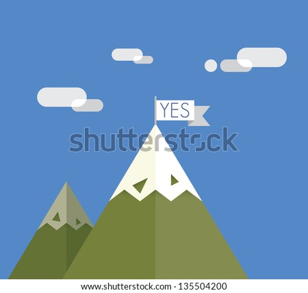 Success achievement. Mount with Yes flag on the top. Business success achievement and motivation concept.