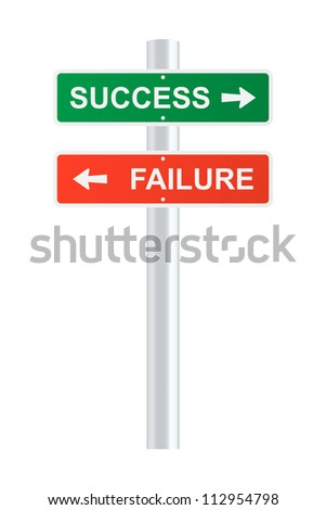 Success and failure signpost - stock vector