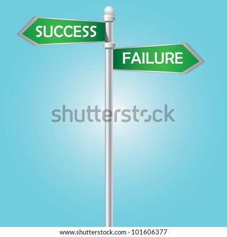 Success and failure signpost on blue sky,Vector