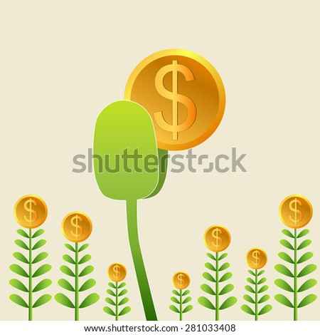 Success business from heart, Plant dollars growing, Business growing money concept. Vector illustration - stock vector