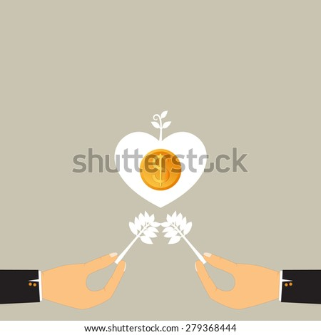 Success business from two hands, Heart fly with dollar, Business growing money concept. Vector illustration - stock vector