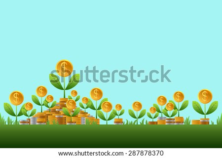Success business, Plant dollars growing, Business growing money concept. Vector illustration - stock vector