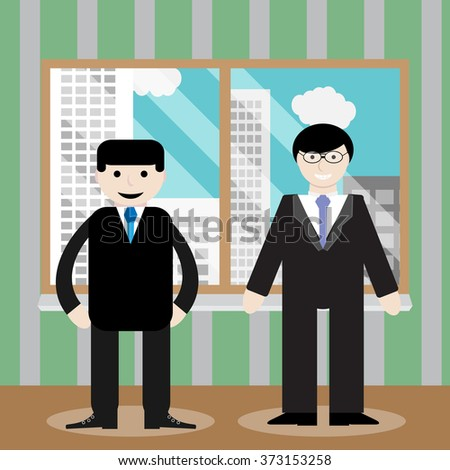 Success business team office window. Office team, business professional partnership, teamwork people, businessman corporate meeting, window cityscape. Vector art abstract unusual fashion illustration - stock vector