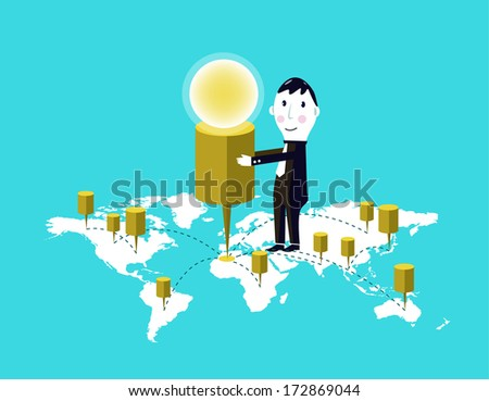 Success businessman and his target markets - stock vector
