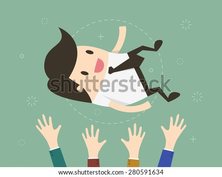 Success. businessman being thrown in the air. Flat design illustration  - stock vector
