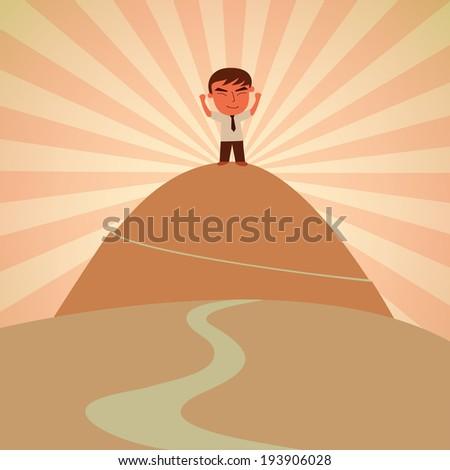 Success businessman reach the mountain concept vector - stock vector
