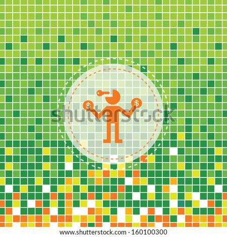 success businessman  symbol on green background - stock vector