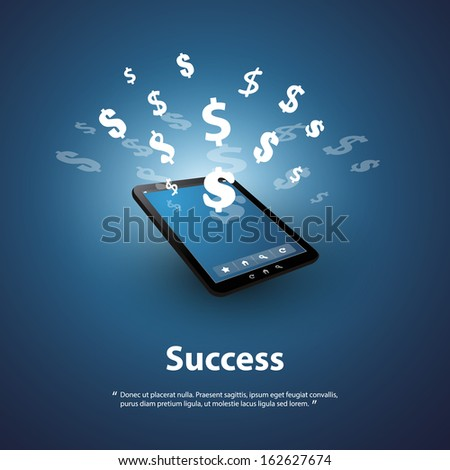 Success - Buy and Sell Online - Graphic Design Concept - stock vector