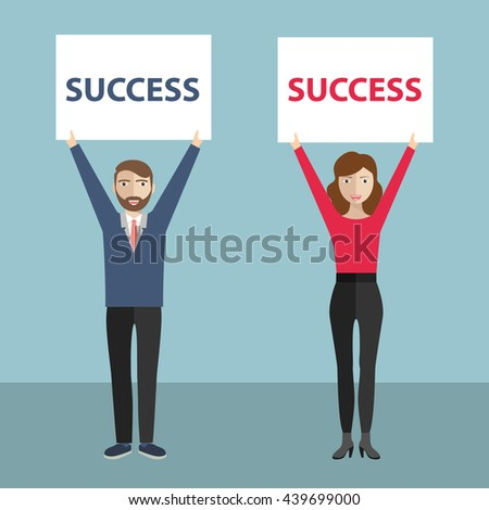 Success concept, business man and woman holding banner over her head with success written on it - stock vector