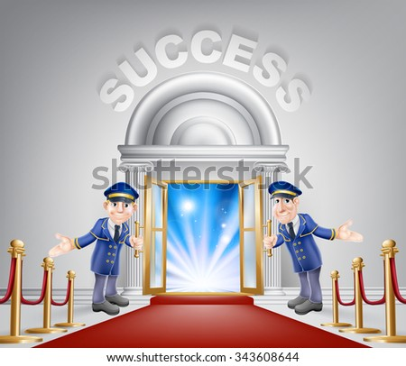 Success door concept of a doormen holding open a door at a red carpet entrance with velvet ropes. Light streaming through it, could be the door to new career. - stock vector