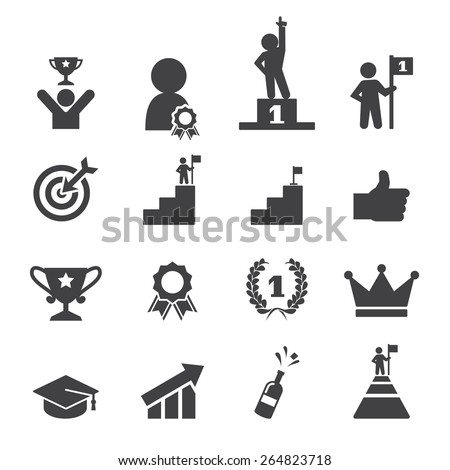 success icon set - stock vector