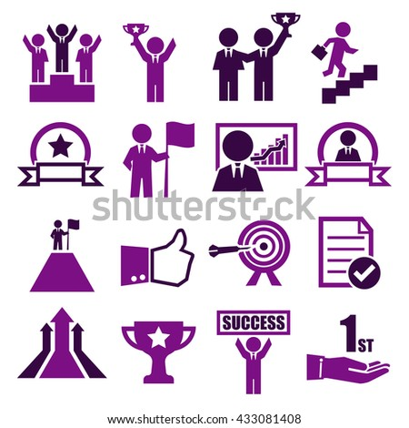 success icon set - stock vector