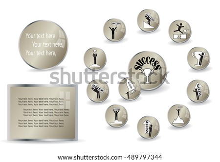 Success icons, presentation template, vector illustration.