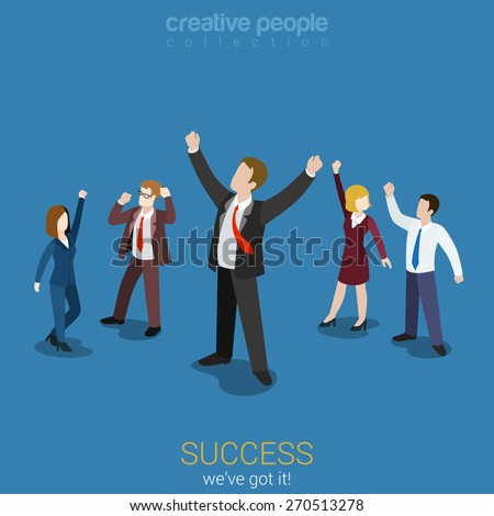 Success in business flat 3d web isometric infographic vector. Happy successful businesspeople group. Creative people collection. - stock vector