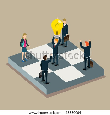 success in business work isometric concept
