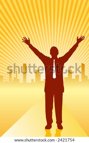 Success in life illustrated by businessman extending his arms - VECTOR - stock vector