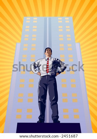 Success in the business world represented by man standing with building in background - VECTOR - stock vector