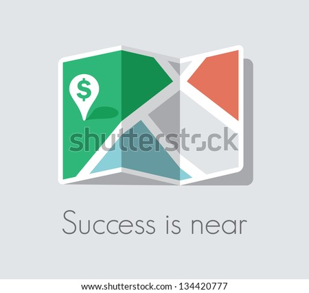 Success is near. Map and pin pointer with green dollar sign. Business success and luck concept.