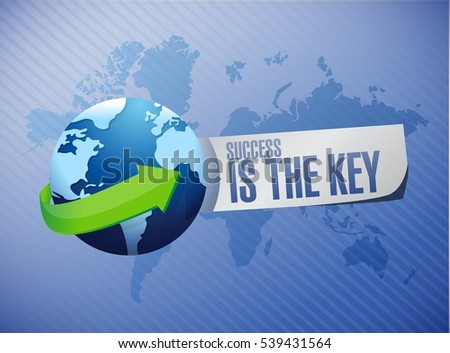 Success is the key world map sign concept illustration design graphic