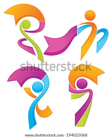 success, leadership and victory vector icons and symbols - stock vector