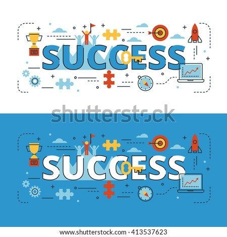 Success lettering flat line design with icons and elements for book cover, report header, presentation,illustration, infographics, printing, website banner and landing page.
