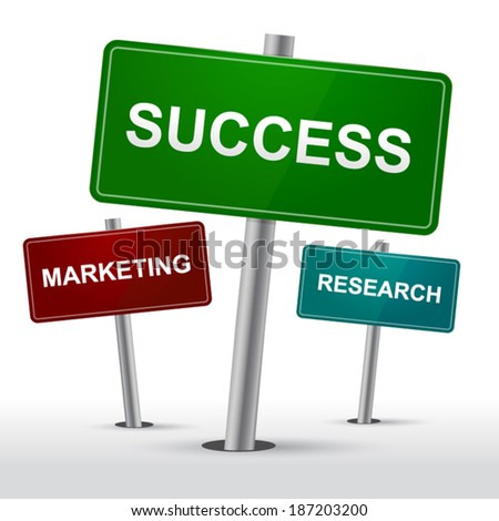 Success, marketing and research signs vector illustration