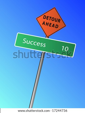 Success 10 miles (km) ahead, with a Detour Ahead Sign - stock vector