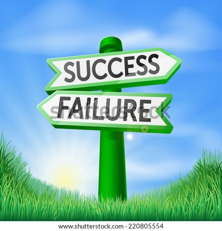 Success or failure concept sign of a direction sign in a field pointing out the way to success or failure - stock vector