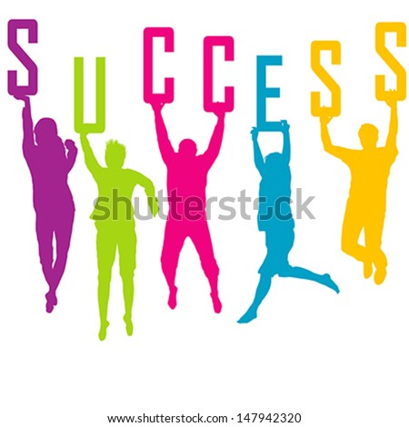 Success representation with colored people silhouettes - stock vector