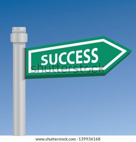 Success signpost,vector - stock vector
