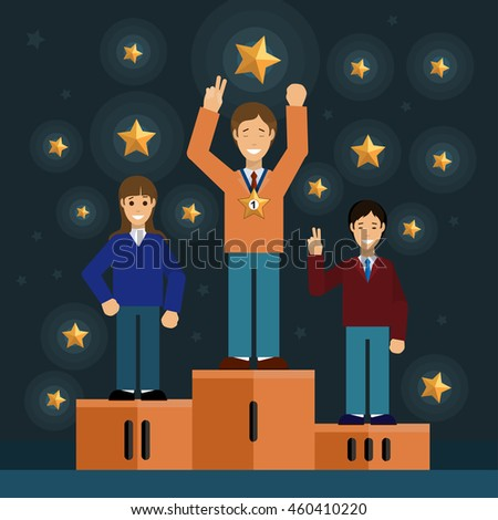 Success vector creative flat concept illustration, ranking, 3 men on podium, winner holding award, for posters and banners