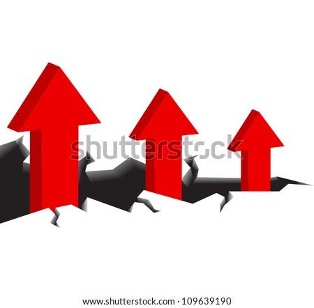 Success will walk away from a dangerous cliff. A red arrow. - stock vector