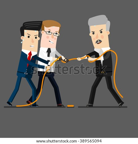 Successful and powerful businessman competing with group businessmen in a tug of war battle, for leadership or business competition.  Business concept cartoon illustration - stock vector