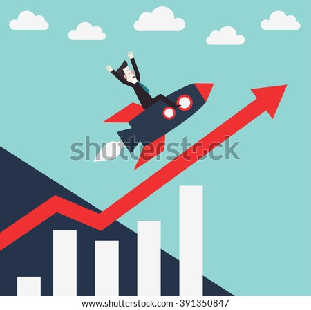Successful and smiling business man flying on a rocket, on a graph going up. Success, idea, growing, international business and strategy vector illustration. New business project start-up design