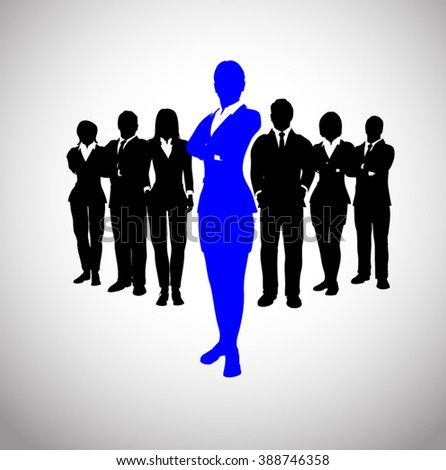 Successful blue leader of the team. A team of executives led by a great and successful leader. - stock vector