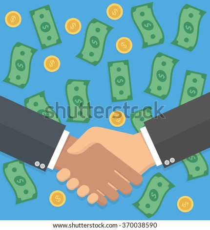 Successful business deal concept. Handshake with falling money in the background. Flat design - stock vector