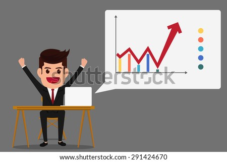 Successful business growth chart. Cartoon Vector Illustration.