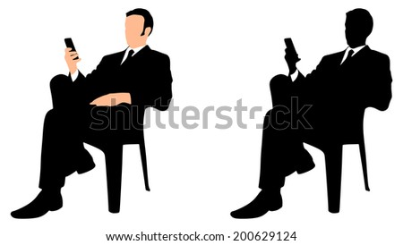 successful business man use cell phone, vector  - stock vector