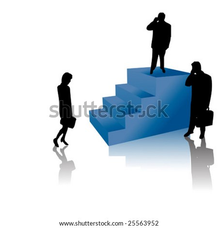 Successful business people standing on stairs men and woman