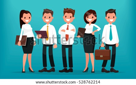 Successful business people. The team of entrepreneurs. Vector illustration in  flat style