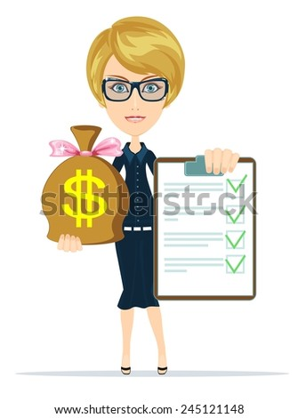 Successful Business woman Holding a Document in Which All Approved, Validated, Agreed  and the Bag of Dollar, Gold Cash. Stock Vector Illustration - stock vector