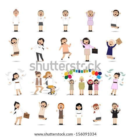 Successful Business Women Set - Isolated On White Background - Vector Illustration, Graphic Design Editable For Your Design - stock vector