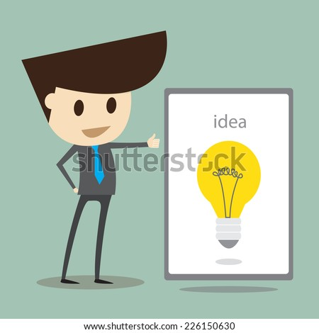 Successful business,Young businessman demonstrating the idea. - stock vector