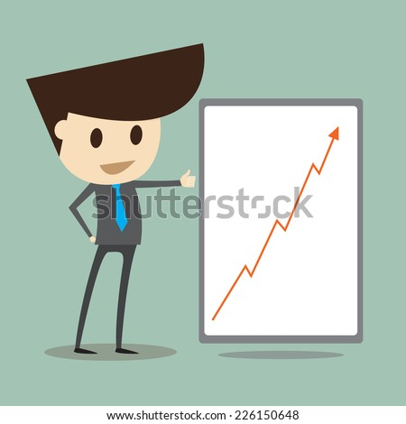 Successful business ,Young businessman showing  graph of success - stock vector