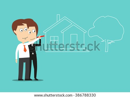 Successful businessman and businesswoman are dreams about home purchase and drawing a house of dream with green front yard. Use as business planning, motivation and real estate concept design