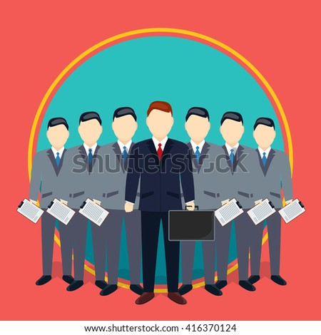 Successful Businessman And Team Of Employees, Teamwork, Manager, Boss, Suitcase, Team, Company, Consolidation, Co-working, Career, Finance, Economy, Money, Increase Concept - stock vector