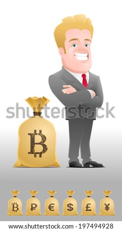 Successful Businessman. Cartoon man in business suit, standing near the sack, full of money, with a currency symbol (set of 6 variants). - stock vector