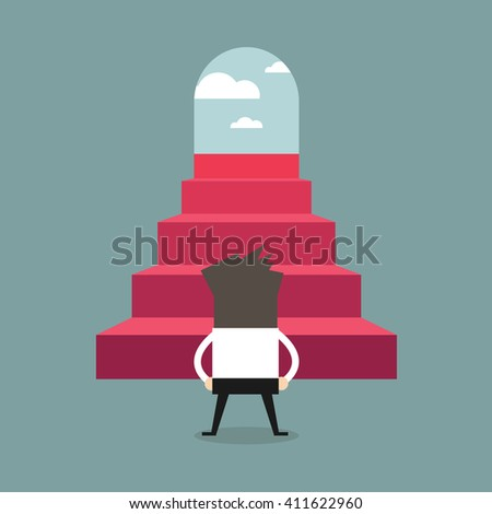 Successful businessman climbing steps. Back view. Career ladder, stairs, success - stock vector