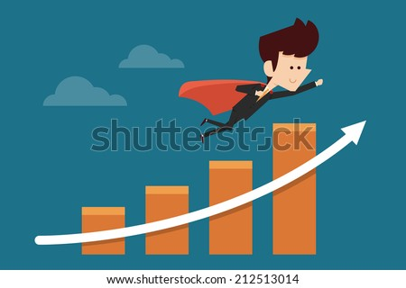 successful businessman flying on graph