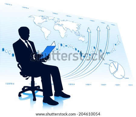 Successful businessman in chair - stock vector